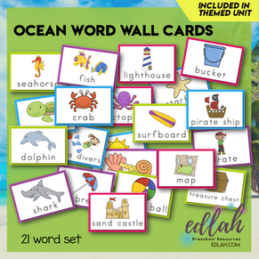 Ocean Vocabulary Word Wall Cards (set of 21) - Full Color -Version#1