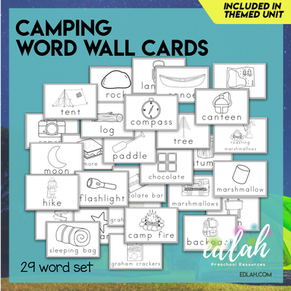 Camping Vocabulary Word Wall Cards (set of 29) - Black & White-Version#1