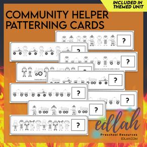 Community Helper Patterning Cards - Black & White Version