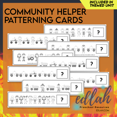 Community Helper Patterning Cards - Black & White Version