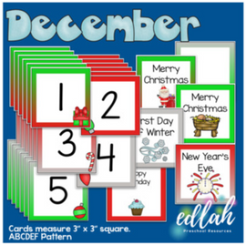 December Calendar Pieces - Christmas Themed - ABCDEF Pattern