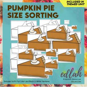 Pumpkin Pie Size Sorting Cards
