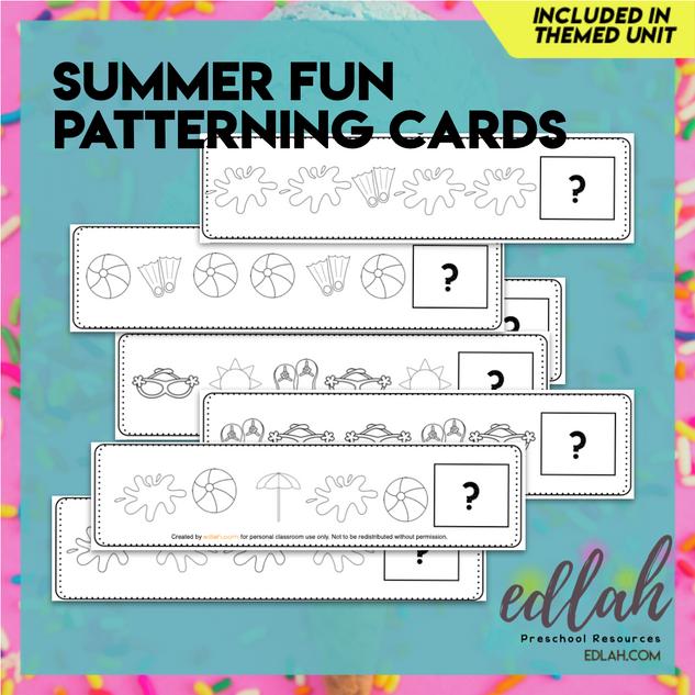 Summer Fun Patterning Cards - Black & White Version