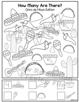 """Cinco de Mayo """"How Many Are There"""" Activity Sheet"""