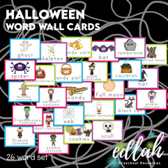 Vocabulary Halloween Word Wall Cards (set of 26) - Full Color -Version#1