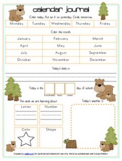 Bears Calendar/Circle Time Journal Sheet