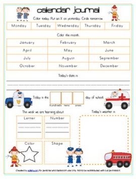 Community Helpers Calendar/Circle Time Journal Sheet