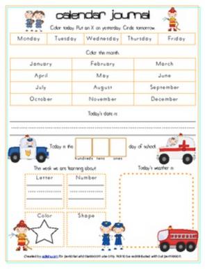 Community Helpers Calendar/Circle Time Journal Sheet