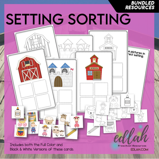 Setting Sorting Cards - Farm, Castle, School