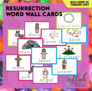 Resurrection/Easter Vocabulary Word Wall Cards (set of 12)-Full Color-Version#1