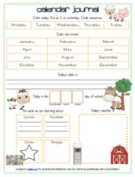 Farm Calendar/Circle Time Journal Sheet