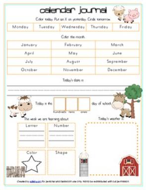 Farm Calendar/Circle Time Journal Sheet