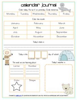 Arctic Calendar/Circle Time Journal Sheet