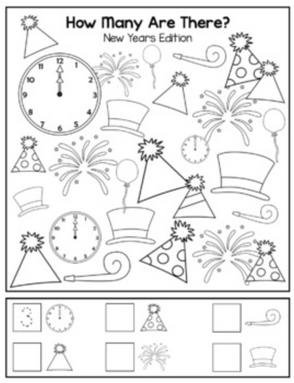 "New Years ""How Many Are There"" Activity Sheet"