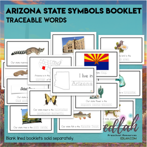 Arizona State Symbols Booklet - Traceable Words