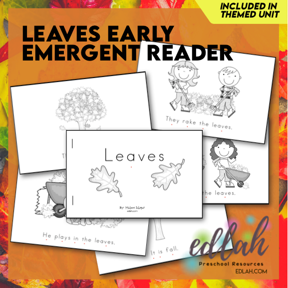 Leaves Early Emergent Reader - Black & White Version