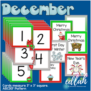 December Calendar Pieces - Christmas Themed - ABCDEF Pattern