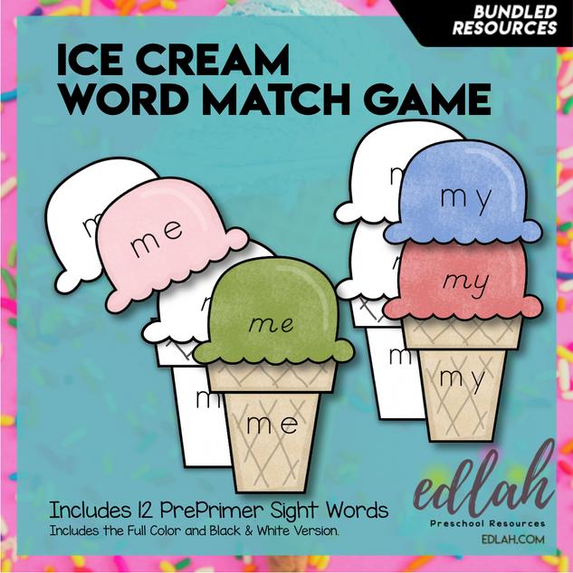 Ice Cream Word Match Game - Summer Fun - BUNDLE