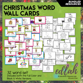 Christmas Vocabulary Word Wall Cards (set of 32) - BUNDLE-Version#1