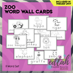 Zoo Vocabulary Word Wall Cards (set of 11) - Black & White-Version#1