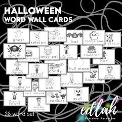 Vocabulary Halloween Word Wall Cards (set of 26) - Black & White-Version#1
