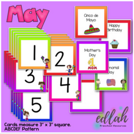 May Calendar Pieces - Kite Themed - ABCDEF Pattern
