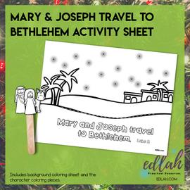 Mary & Joseph Travel to Bethlehem Popsicle Stick ActivitySheet-Distance Learning