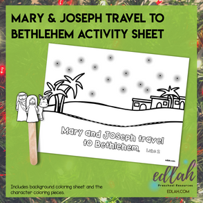 Mary & Joseph Travel to Bethlehem Popsicle Stick ActivitySheet-Distance Learning