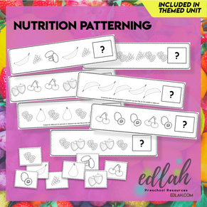 Nutrition/Food Patterning Cards - Black & White Version