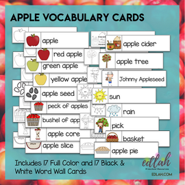 Apples Vocabulary Word Wall Cards (set of 17) - BUNDLE - Version #2