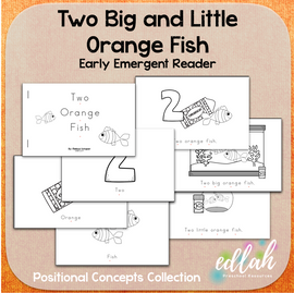 Two Orange Fish Early Emergent Reader (Big & Little) - Black & White Version