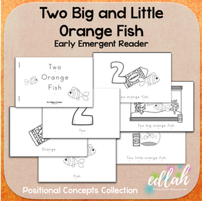 Two Orange Fish Early Emergent Reader (Big & Little) - Black & White Version