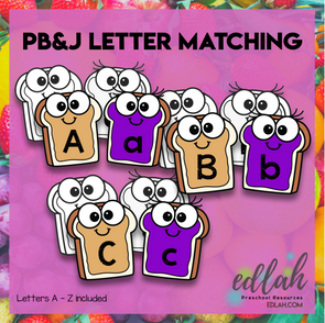 Peanut Butter and Jelly Letter Case Matching