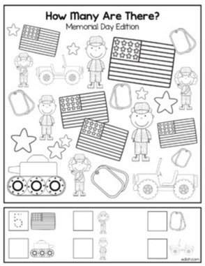 "Memorial Day ""How Many Are There"" Activity Sheet"