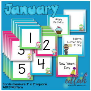 January Calendar Pieces - Winter Penguin Themed - ABCD Pattern