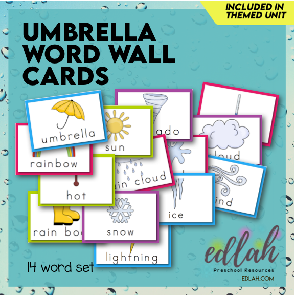 Umbrella/Weather Vocabulary Word Wall Cards (set of 14) - Full Color -Version#1
