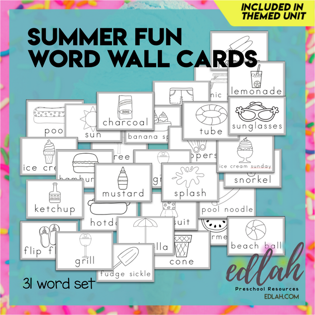 Summer Fun Vocabulary Word Wall Cards (set of 31) Black & White -Version#1