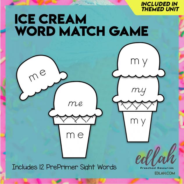 Ice Cream Word Match Game - Summer Fun - Black & White Version