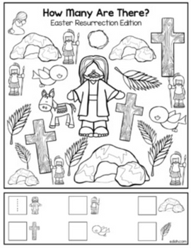 """Easter Resurrection """"How Many Are There"""" Activity Sheet"""