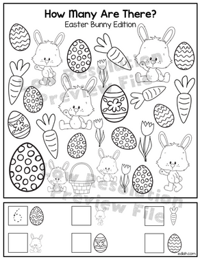 "Easter Bunny ""How Many Are There"" Activity Sheet"