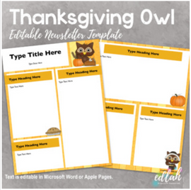Thanksgiving Owl Newsletter for WORD or PAGES_Generation 2