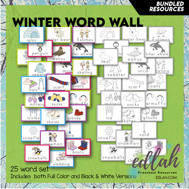 Winter Vocabulary Word Wall Cards (set of 25) - BUNDLE-Version#1
