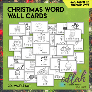 Christmas Vocabulary Word Wall Cards (set of 32) - Black & White-Version#1