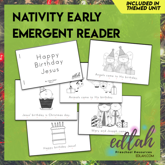 Christmas Nativity Early Emergent Reader - Black & White Version