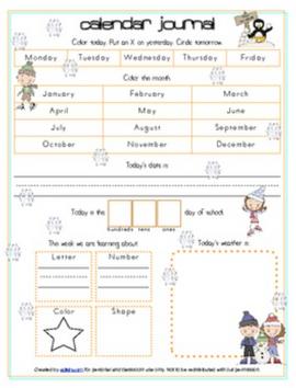 Winter Calendar/Circle Time Journal Sheet