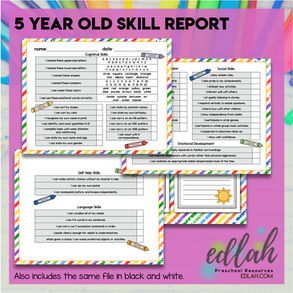 5 Year Old Skill Progress Report (Kindergarten Readiness Report)