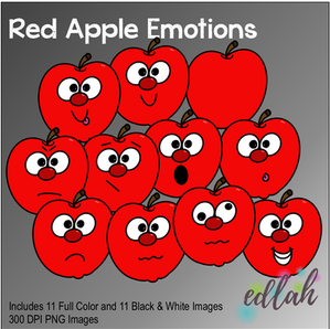 Red Apple Emotions Face Clip Art