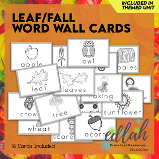 Leaves Vocabulary Word Wall Cards (set of 16) - Black & White-Version#1
