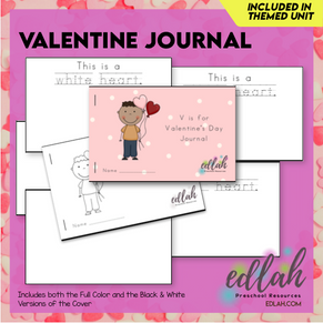 Valentine's Day Printable Journal - Full Color and Black & White Versions