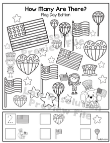 """Flag Day """"How Many Are There"""" Activity Sheet"""